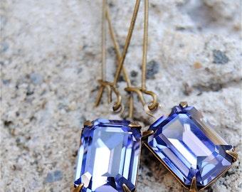 Vintage Tanzanite Purple Earrings Swarovski Crystal Earrings Rectangle Drop Dangle Rhinestone Earrings Duchess Rectangle Mashugana