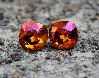 Orange Pink Vintage Swarovski Crystal Earrings Super Sparklers Vintage Orange Pink Diamond Square Princess Cut Studs Mashugana