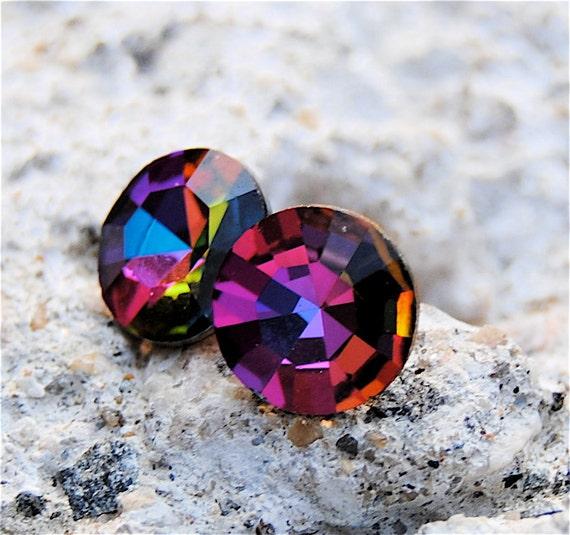 Fuchsia Pink Rainbow Studs Swarovski Crystal Vintage Azalea RARE rainbow Earrings Multi Color Christmas Gift Jewel Tone Studs Mashugana