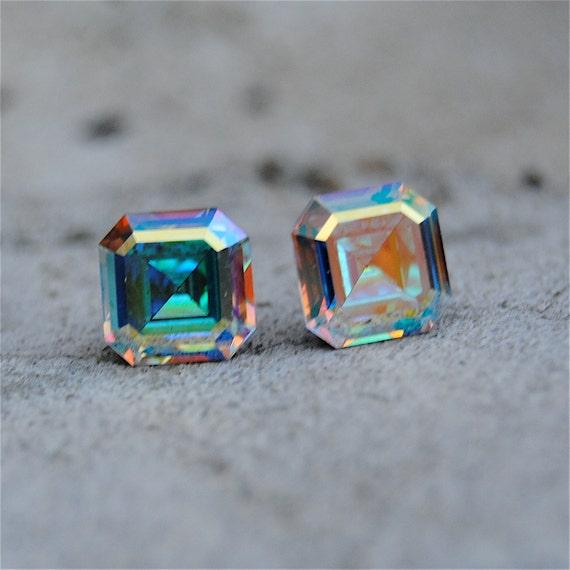 Rainbow Aurora Borealis Earrings Vintage Swarovski Crystal Rainbow Stud Earrings Square Cut Studs Mashugana