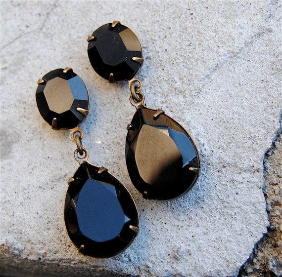 Black Noir Earrings Swarovski Crystal Earrings Rhinestone Post Dangle or Clip on Tear Drop Pear Earrings Duchess Hourglass Mashugana