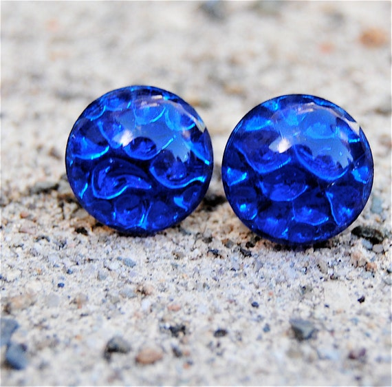 Vintage Glass Earrings - Blue German Art Glass - Blue Stud Earrings