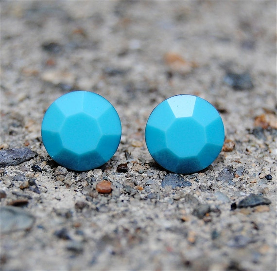 Swarovski Crystal Earrings - Vintage Opaque Turquoise Studs