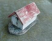 Vintage Antique Noah's Ark Bird House Feeder Rustic Handmade Primitive Weathered Paint