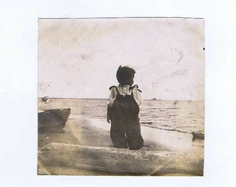 Antique Baby at North Shore MA  Beach Photos c. 1900