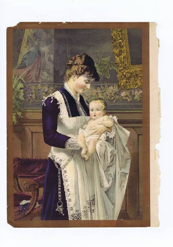 Items Similar To Antique Vintage Victorian Nanny And Baby