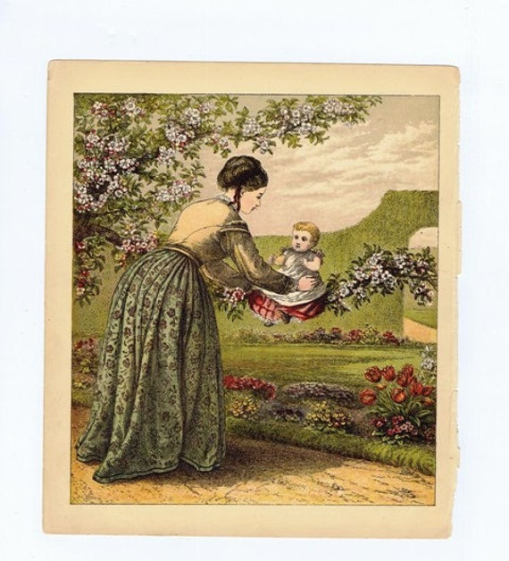Mother and Baby in a Garden Antique 19th century Victorian Color Lithograph Print