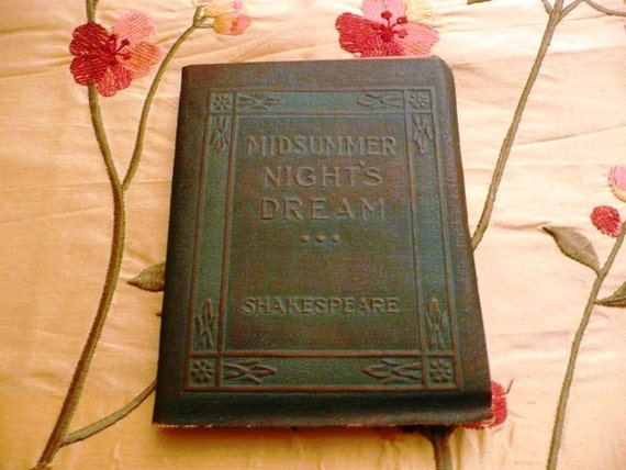 Vintage Antique Miniature Arts and Crafts Book Midsummer Nights Dream by Shakespeare Little Leather Library NY