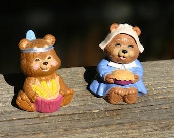 Vintage Pair of Hallmark Thanksgiving Autumn Merry Miniatures 1990's - Pilgrim & Indian Bears