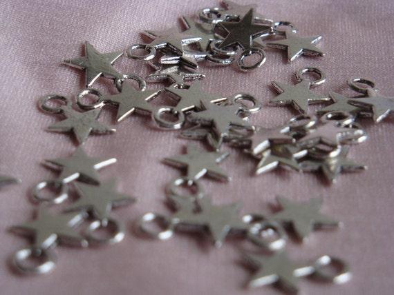 Small silver stars, charm, pendant, jewerly making, tibetan, crafts, 30pc