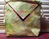 Batik Origami Bag - beautiful batiks in greens and pinks