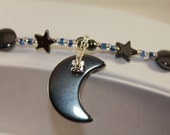 Anklet-Blue with Hematite Stars and Moons