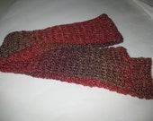 Long warm scarf made from the colors of pink, purple and grey