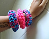 cute crochet bangles bracelets cotton candy color soft quiet comfortable set of three bright pink blue purple fun