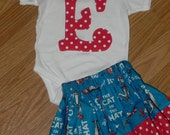 Dr Seuss Cat in the Hat Twirl Skirt and Applique Onesie or Shirt