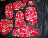 Decorator Teddy Bear, Fabric Kit, Precut, Christmas Print