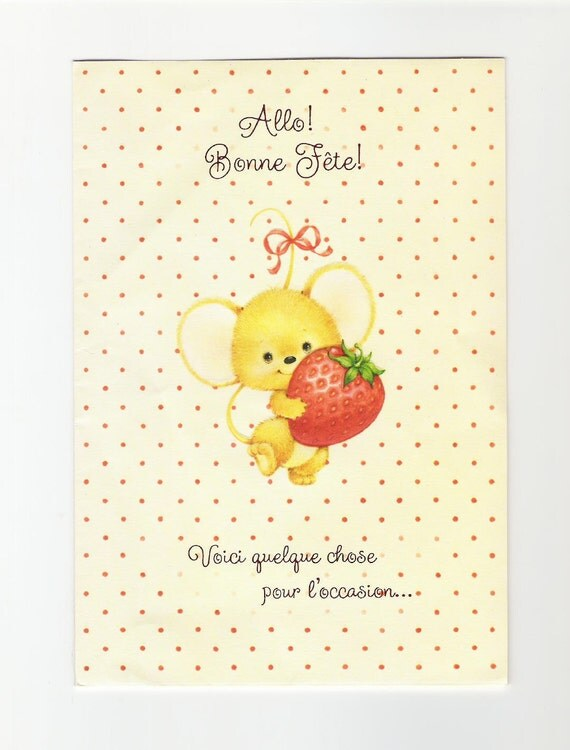 1980s Used French Birthday Greeting Card - Little Mouse with Strawberry Basket