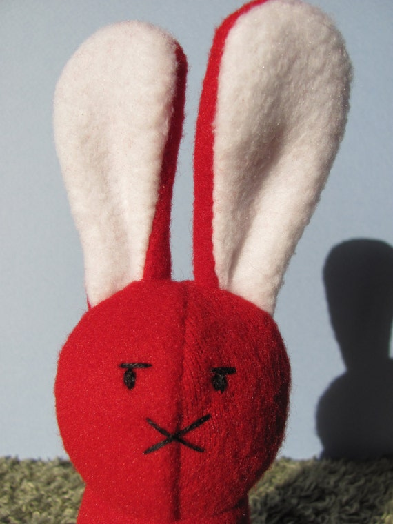 Upcycled Ecofriendly Suspicious Red Bunny Plush Stuffed Animal Toy