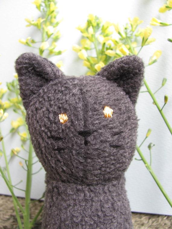 Eco-friendly, Upcycled Grey Tabby Plush Stuffed Animal Toy