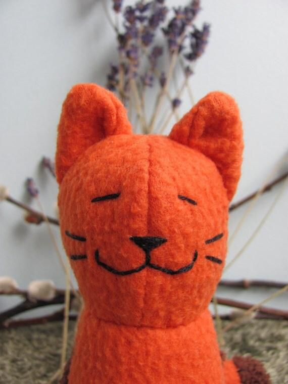 Eco friendly Upcycle, Orange Tabby, Plush Stuffed Animal Toy