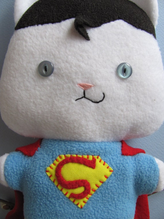 Supermanx, the Comic Cat Superhero Upcycled Eco friendly Plush Stuffed Animal Toy - Made to Order