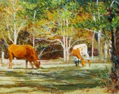 cow painting, cow, cows, cow oil painting, cow art, large painting, oil painting, original oil paintings, animal painting