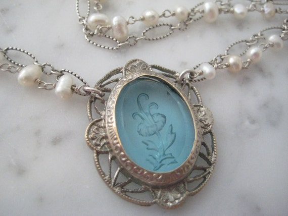 Vintage Glass Pendant on Double Chains: Sterling Silver & Pearls