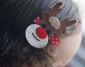 Adorable Rudolph Hair Clip - Meet Rudy (Treasury Item)