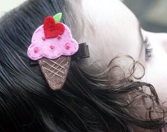 Ice Cream Cone Hair Clip - Meet Miss Yum - MORE COLORS