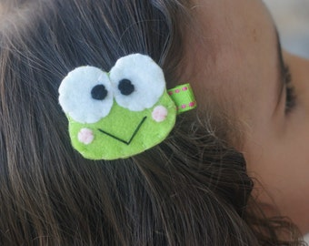 Boutique Frog Hair Clip - Meet Miss Frags (Treasury Item)