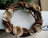 Small woven wooden wreath with vintage book blooms--home decor, weddings, holiday, winter, autumn, spring, summer.