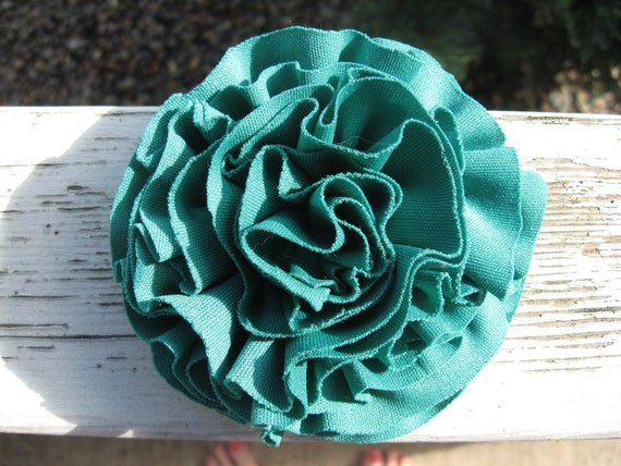 Blue teal ruffled flower: accessory, hair clip, brooch pin, gift topper.