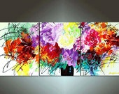 48'' Original Contemporary Palette Knife Fine Art Painting Abstract Textured Ready to Hang 48''x20''