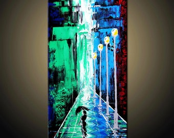 Cityscape painting, Original Contemporary Palette Knife Fine Art Painting Abstract Textured On Stretched  Canvas Ready To Hang 24''x12''