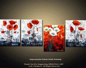 64'' Original Contemporary Flower Palette Knife Fine Art Painting Abstract Textured Ready to Hang