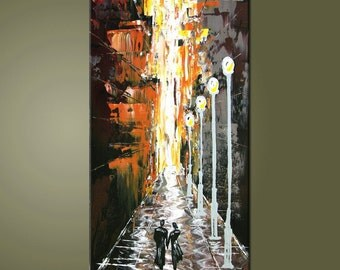 24'' Original Contemporary Palette Knife Fine Art Painting Abstract Textured On Stretched  Canvas Ready To Hang