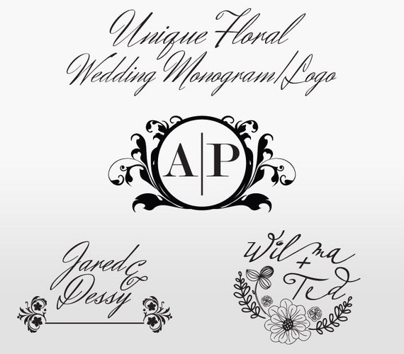 Floral Wedding Monogram/Logo - Custom