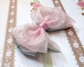 Layered Hair Bow Pink Organza and Silver Satin