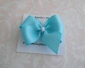 Aqua Pinwheel Style Hair bow
