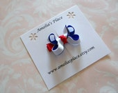 Small Layered Boutique Style Hair Bow- Red, White, and Blue