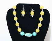 Candy yellow Jade necklace and earrings set