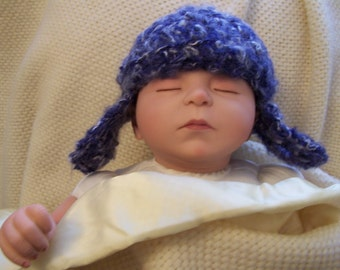 Baby Blue Ear Flap Hat with Matching Booties