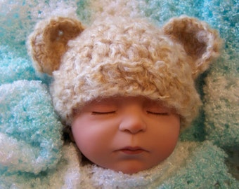 Honey Teddy Bear Baby Hat and Matching Booties