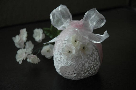 Decorative, Potpourri, White and Pink, Crochet Laced Egg