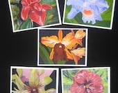 Flower Art Note Cards, Tropical Colorful Flowers, Handmade OOAK, Red Purple Yellow Pink Orange