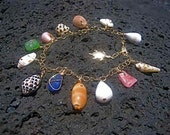 Colorful Hawaiian Shell - Beach Glass - Gold Charm Mermaid Bracelet - OOAK