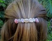 Maui Beach Barrette, Hawaiian Shell Hair Clip, Hawaii Beach Hair Accessories, Genuine French Pink