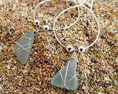 Sea Glass Earrings Sterling Silver Hoops Wire Wrapped Hawaiian Aqua Pastel Beach Glass