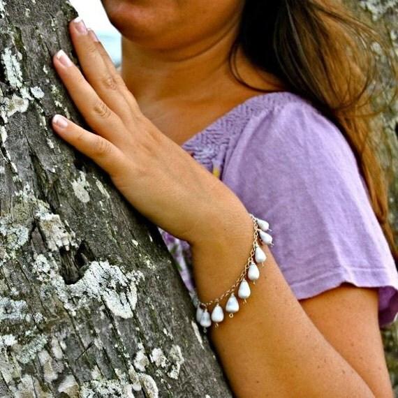 Hawaii Shell Charm Bracelet, Sterling Silver, White Lavender Cones, Blue Lapis Gemstone, Beach Jewelry
