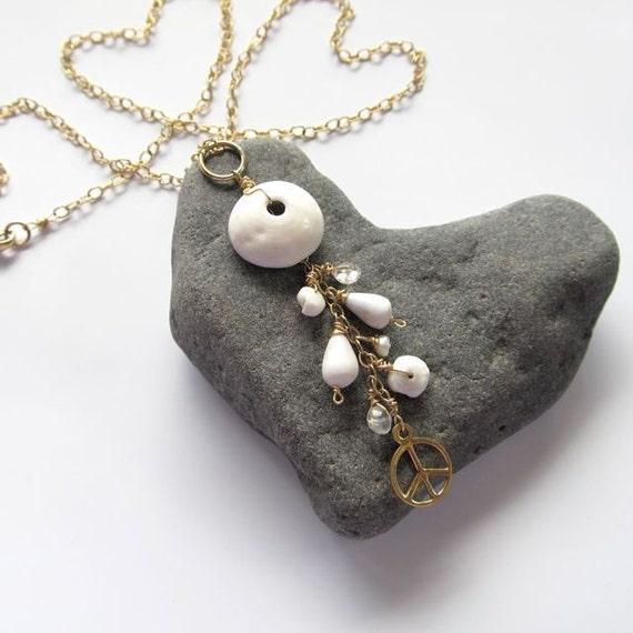 Maui Puka Shell Necklace, Gold Peace Sign, White Hawaiian Shells, Hawaii Beach Jewelry